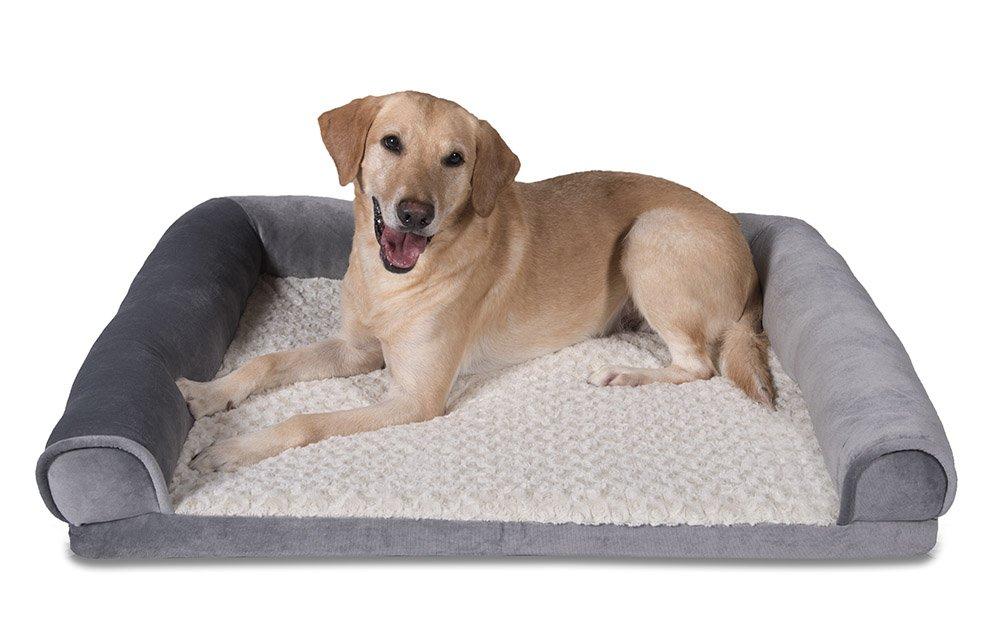 Sleepi Deluxe Bolster Memory Foam Pet Bed, 32'' x 40'' x 6'', Sharkskin