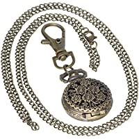 Retro Design Hollow Flower Fob Watch Vintage Bronze Pocket Watch Necklace Chain Men's Women 1 PC Necklace 1 PC Key Clip Quartz Pendant Watch Fob Nurse Watch