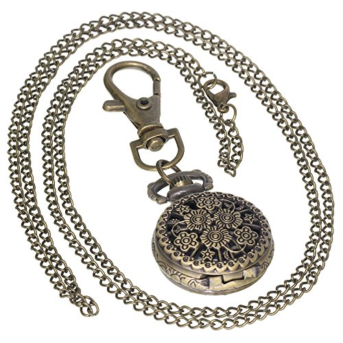 Retro Design Hollow Flower Fob Watch Vintage Bronze Pocket Watch Necklace Chain Men