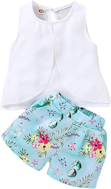 Toddler Shorts Set Baby Girl Summer Outfits Strape Vest Tank Top Short Pants Clothes Set