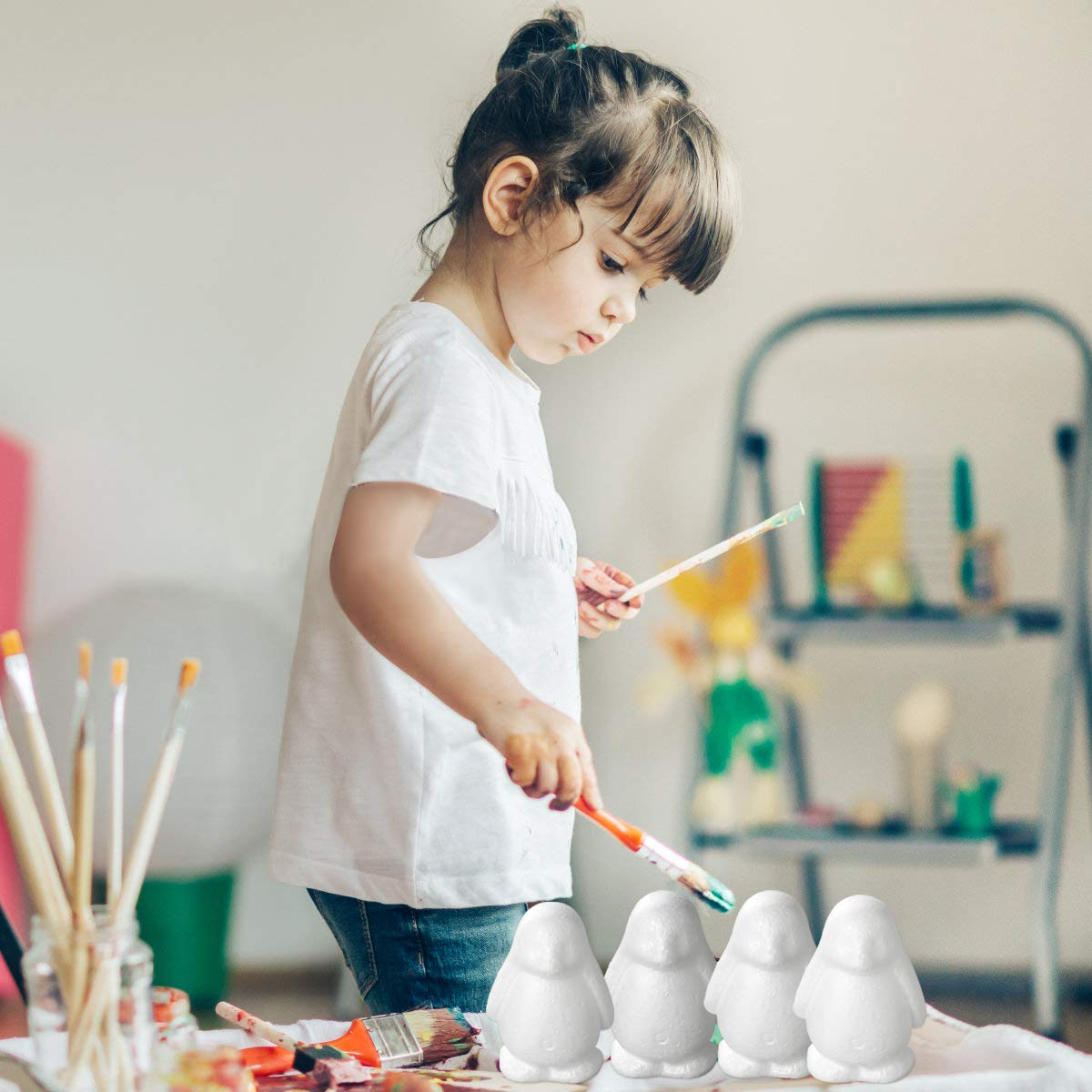 Amosfun 6 St/ück Pinguin Figur Polystyrol Kugeln B/älle Kunst Malerei Modell Modellierung Basteln DIY Handwerk f/ür Kinder Wei/ß