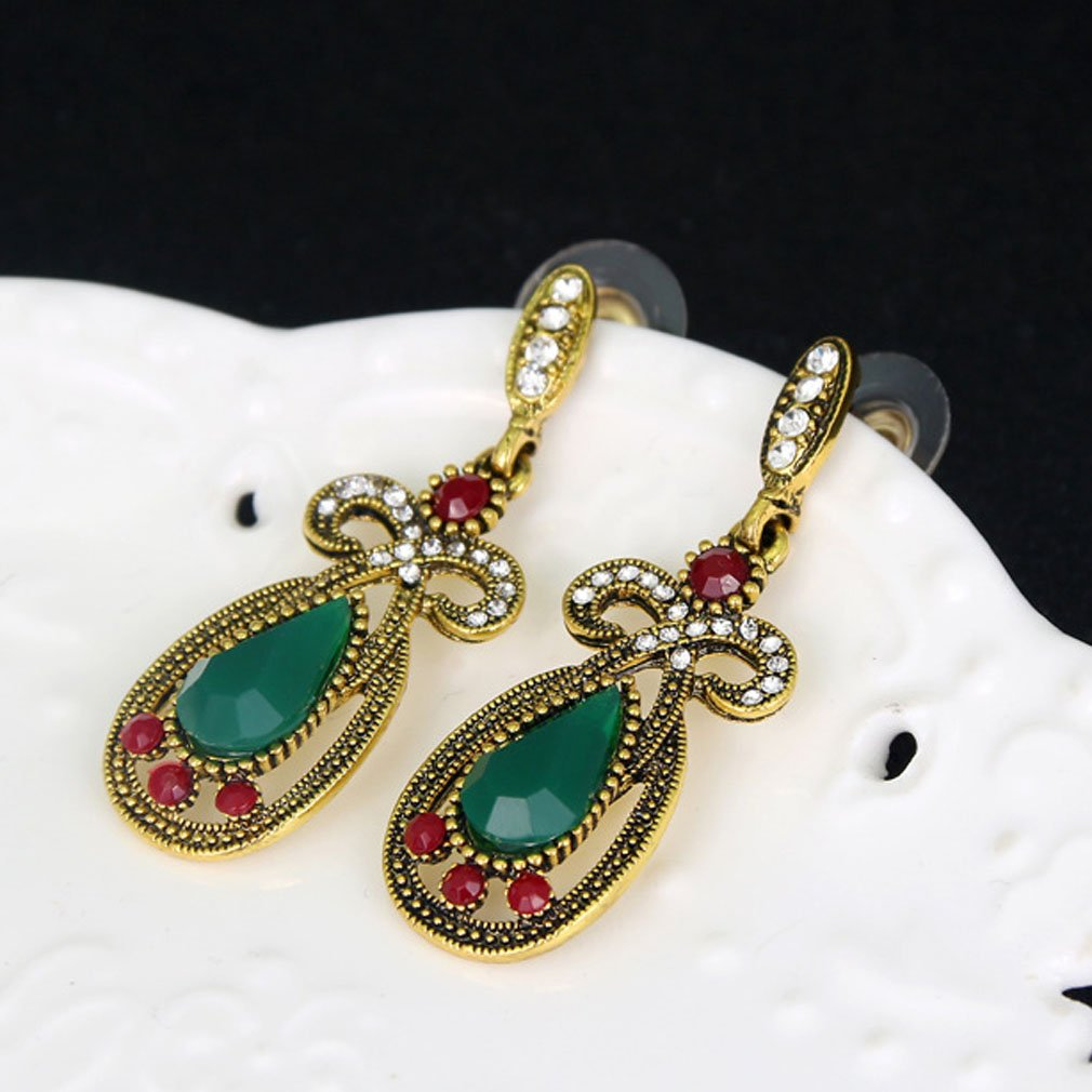 YAZILIND Emerald gold plated drop earrings dangling rhinestone white topaz zirconia gemstone studs