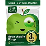 Project 7 Low Sugar Sour Apple Rings – Keto-Friendly & Vegan Gummies with 3g Sugar & 6g Net Carbs – Low Calorie Snacks (60) –