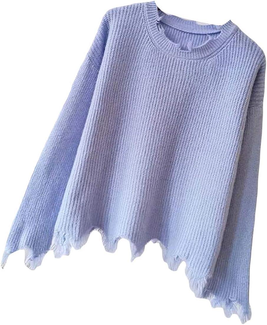 Joe Wenko Womens Long-Sleeve Casual Fuzzy Knit Pullover Sweaters