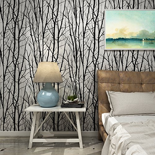Dorfin modern birch tree wallpaper mural forest peel and - Birch tree wallpaper peel and stick ...