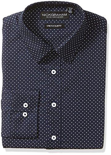 Nick Graham Men's Silm Fitted Pin Dots Print Stretch Dress Shirt, Navy, Small-L (Dot Formal Pin)