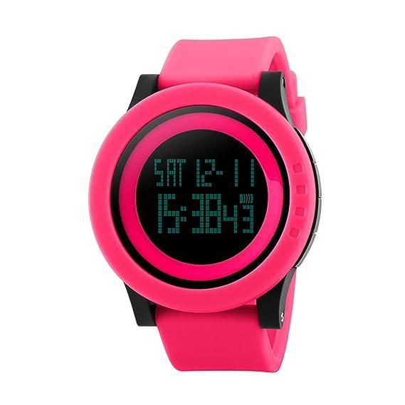 souarts Hombre Mujer Reloj De Pulsera Digital Display Sport reloj LED despertador calendario cronómetro impermeable reloj de pulsera 27 cm Rojo: Amazon.es: ...
