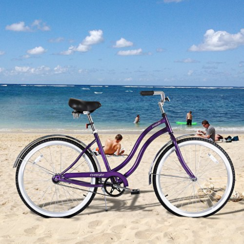 COEWSKE 26 Single Speed Men Women's Beach Cruiser Bicycle(Mysterious/Charm Purple)