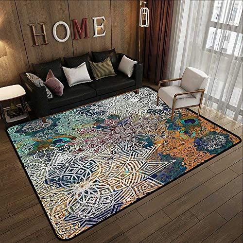 Floor mat,Bohemian Boho Yoga Decor,Natural Peacock Feather Batik Hippie Mandala Medallion,Teal Orange Turquoise Mustard White 47