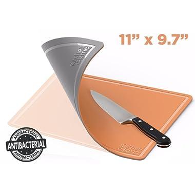 Kitchen Gizmo TPU Cutting Board - Flexible, Knife Friendly, Anti Bacterial Chopping Mats - Double Sided, Orange and Grey - Medium