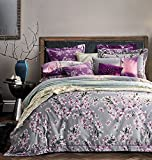 Blooming Cherry Blossoms Tree Branches Duvet Quilt Cover by Eikei Home, Modern Japanese Oriental Style Grey Brushed Cotton Extra Soft and Cozy Bedding Set Light Pink Flowers Print on Gray (King)