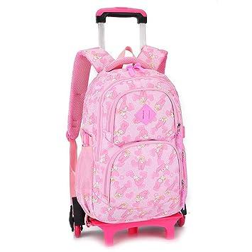 XHHWZB Rolling Laptop Backpack Equipaje Mochila con Ruedas Trolley Bolsas de Escuela con Seis Ruedas para niños Niñas Niños Adolescentes Estudiantes ...