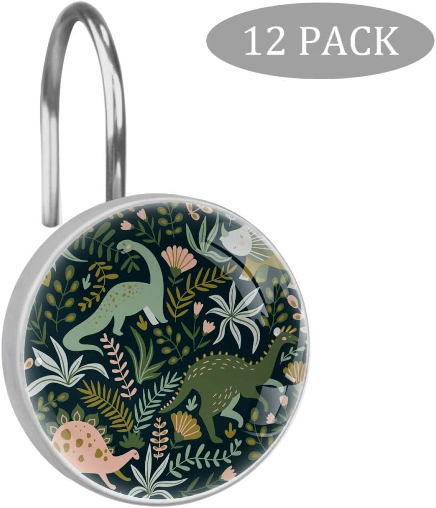 Eslifey Dinosaur With Cool Slogans Shower Curtain Hooks for Bathroom Shower Curtain Rod 12 Pieces