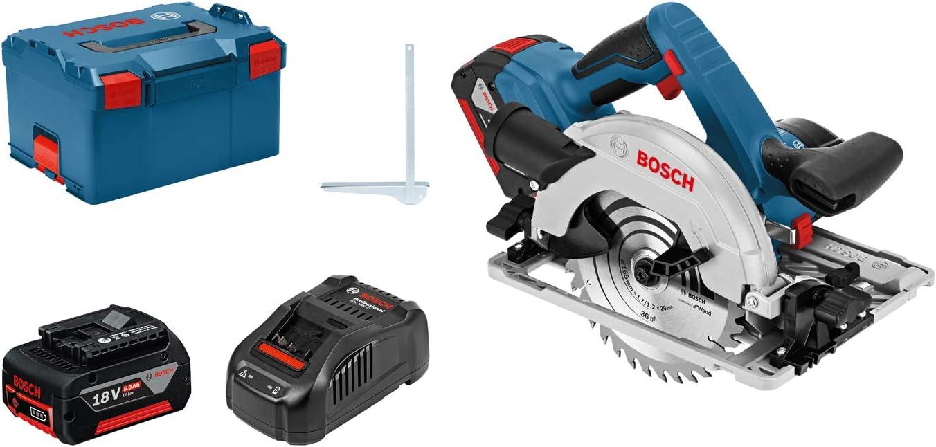 Bosch Professional GKS 18V-57 G - Sierra circular a batería (2 baterías x 5.0 Ah, 18V, disco Ø 165 mm, en L-BOXX)