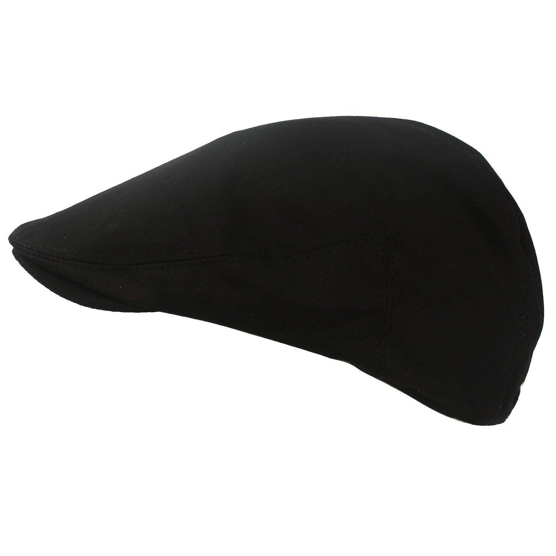 Men s Summer 100% Cotton Front Snap Solid IVY Driver Golf Flat Cap Hat  Black M L at Amazon Men s Clothing store  aa66ee0f5dbb