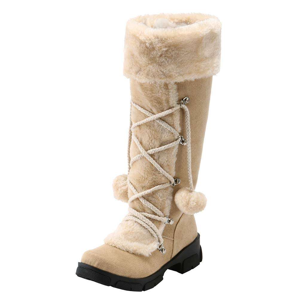 Vente!!! Bottes au genou en daim, boules de cheville, bottes d'équitation, dames, talon plat, bout fermé, doublure en fourrure, hiver, bottes de neige chaudes, confortable bottes d' équitation LSAltd