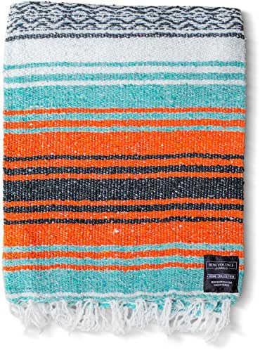 Mexican Blanket, Premium Falsa Blanket | Authentic Hand Woven Blanket, Serape & Yoga Blanket | Perfect Beach Blanket, Navajo Blanket, Camping Blanket, Picnic Blanket, Saddle Blanket, Car Blanket