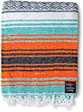Mexican Blanket: Authentic Falsa Thick Soft Woven Serape for Yoga or as Beach Throw, Picnic, Camping, Travel, Hiking, Adventure Orange (Mandarin)