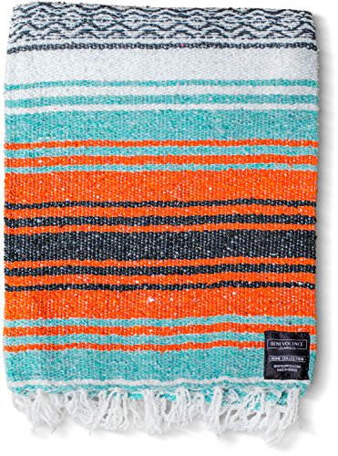 (Mexican Blanket Yoga Serape Blankets - Mexican Blankets - Yoga Blanket - Authentic Baja Blanket - Yoga Blankets Mexican - Perfect as Beach Blanket Orange Colorful Camping Blanket (Mandarin))