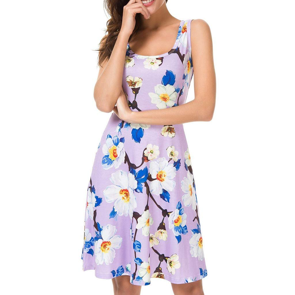 PASATO Women Summer Round-Neck High waist Sexy Print Floral Beach Sling Sleeveless Party Mini Dress(Purple,S=US:XS)