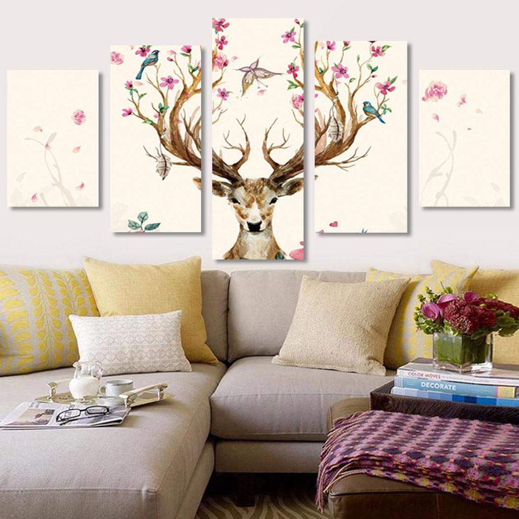 Yealsha DIY 5D Diamond Painting Kit for Adults, Full Drill Diamond Embroidery Cross Stitch Picture for Wall Decoration, 5 Sets of Splicing Painting 37x18inch/95x45cm