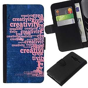 KLONGSHOP // Tirón de la caja Cartera de cuero con ranuras para tarjetas - Arte de la palabra creativa Árbol Creatividad - Samsung Galaxy Core Prime //