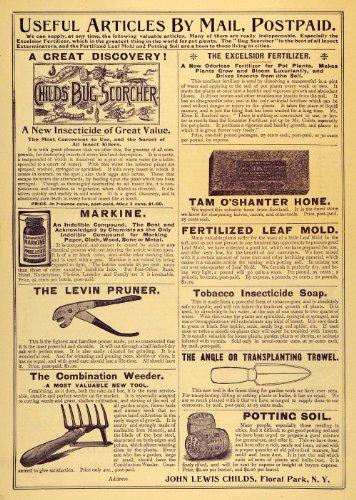 1894 Ad Pruner Insect Fertilizer Soil Floral Park Leaf - Original Print Ad (Fertilizer Floral)