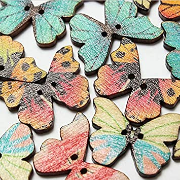 Amazon.com: Botones – 50 piezas de botones de mariposa de ...