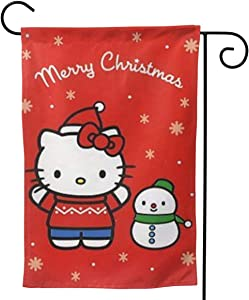 Pooizsdzzz Custom Garden Flag Hello Kitty Merry Christmas Personalized Garden Flag Yard Flag 12.5 X 18 Inches/28 X 40 Inches (Double-Sided)