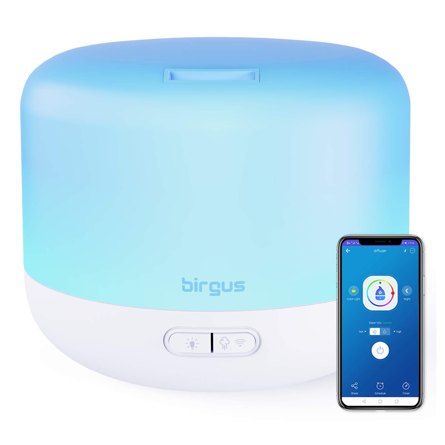 Smart Wifi Enabled Essential Oil Aromatherapy Diffuser (300ml), works with Alexa, Google Home & APP (2.4GHz WIFI Required) by birgus
