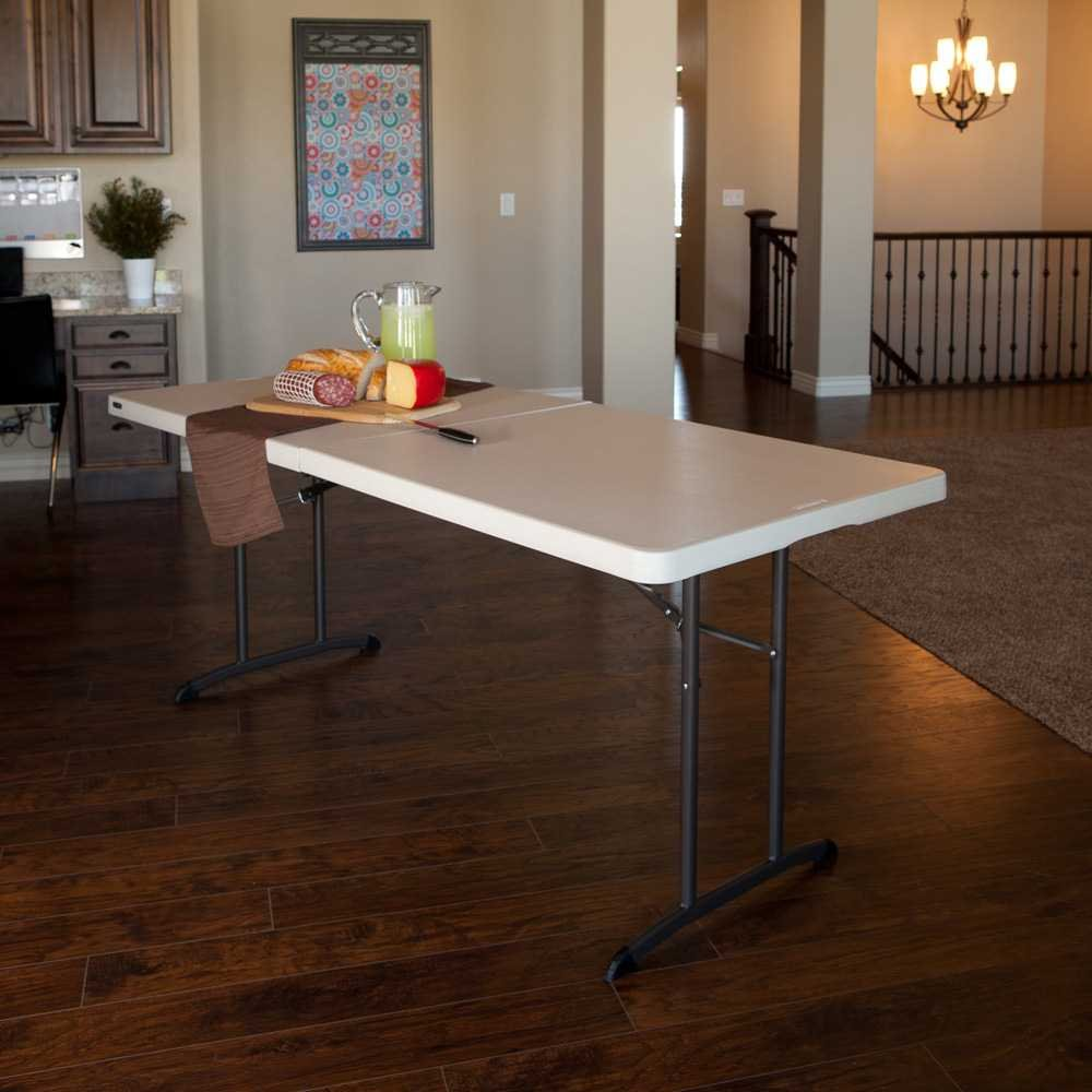 LIFETIME 80680 6-Foot Commercial Fold-in-Half Table Almond 94 x 76.2 x 9.2 cm