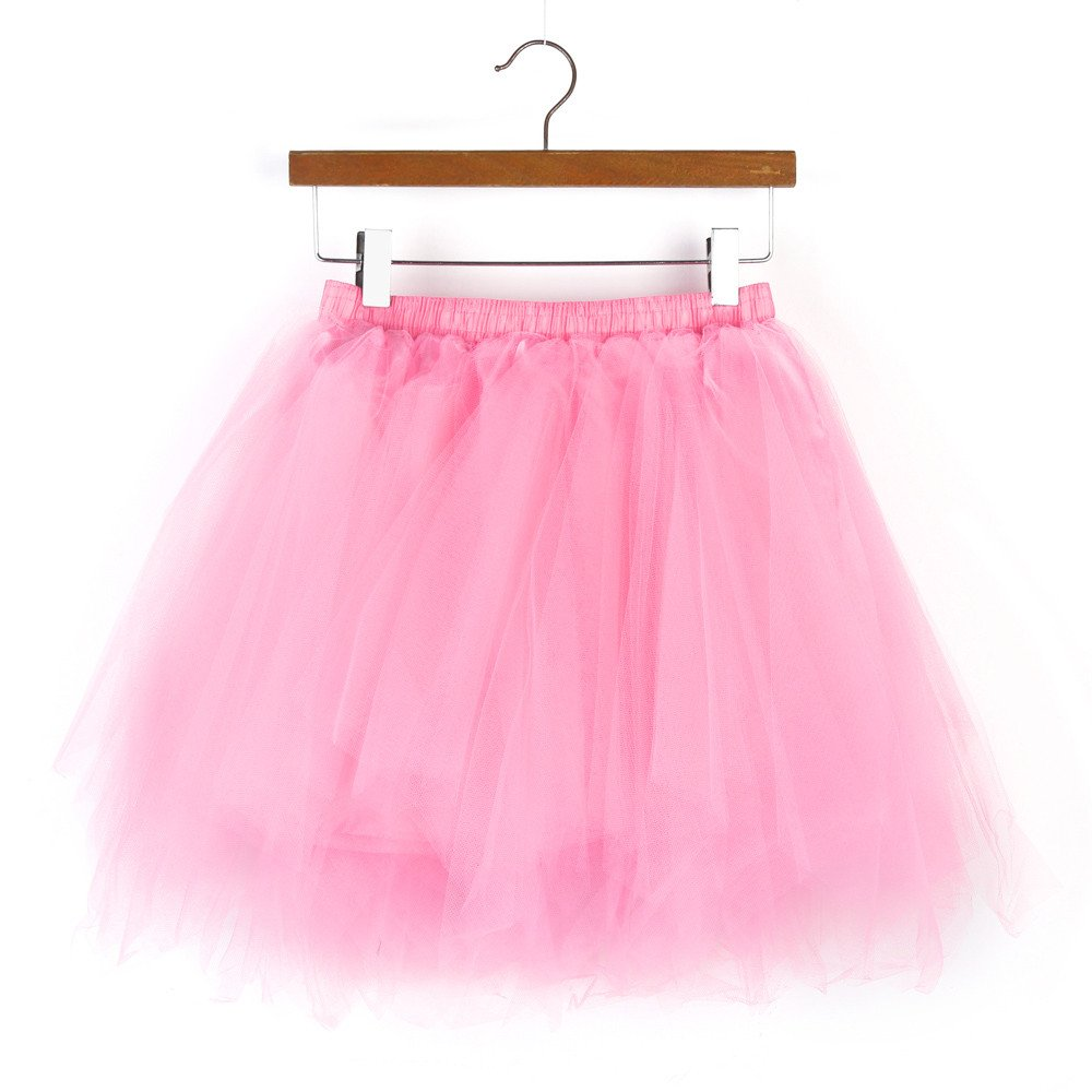 NUWFOR Women's1950s Vintage Ballet Bubble Skirt Tulle Petticoat Puffy Tutu?Pink?One Size? by NUWFOR (Image #2)