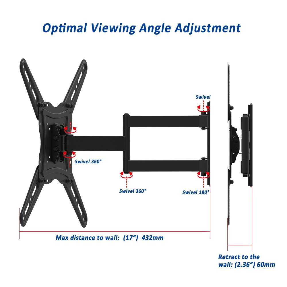 TV Wall Mount Bracket fits to Most 26-55 inch LED,LCD,OLED Flat Panel TVs, Tilt Full Motion Swivel Articulating Arms, TV Bracket VESA 400X400, 77lbs Loading with HDMI Cable, Cable Ties EVERVIEW by EVERVIEW (Image #4)