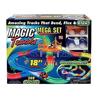 Amazon Com Magic Tracks 18 Ft Mega Set With Led Race Cars Mega