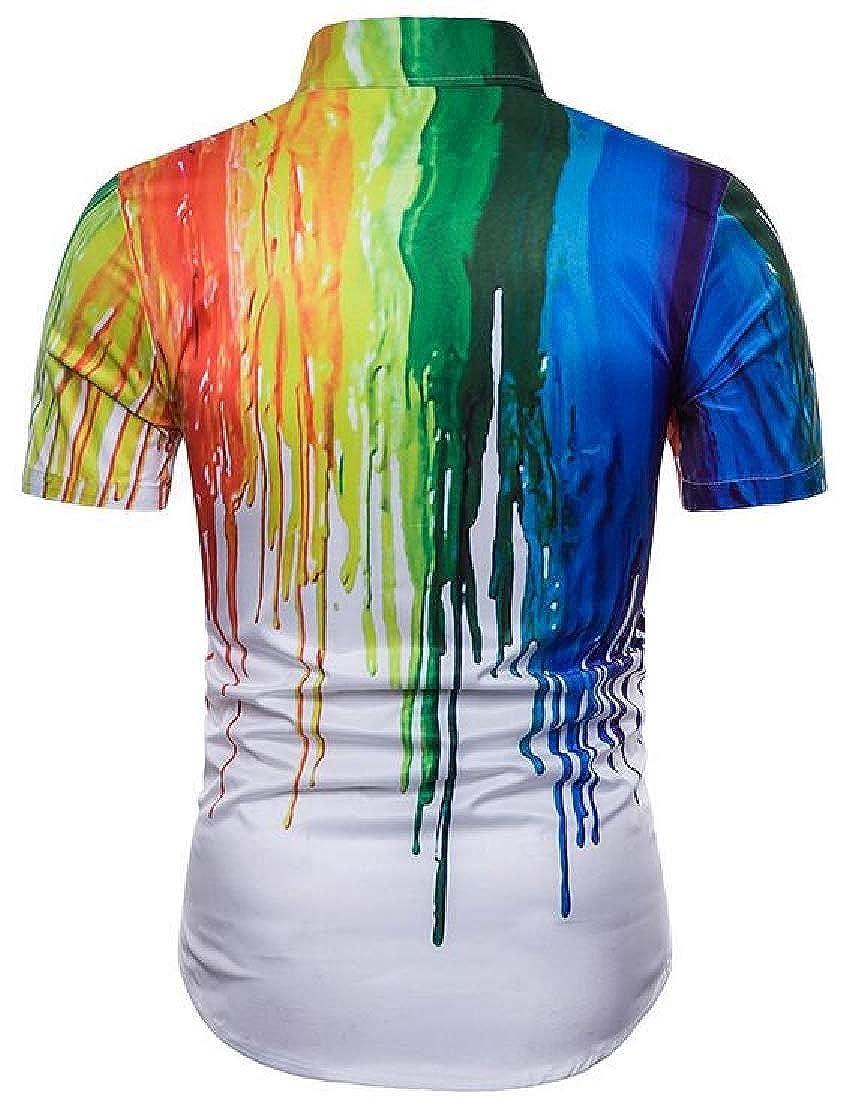 ZXFHZS Mens Summer 3D Ink Print Shirt Slim Button Down Short Sleeve Shirt