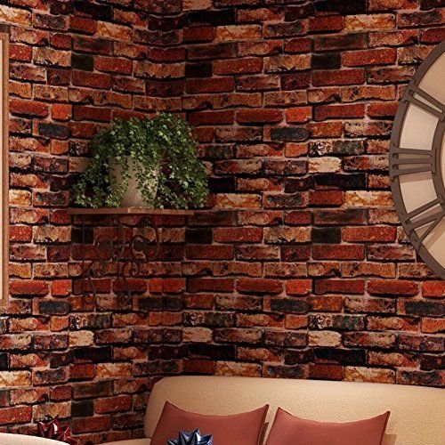 (3D Red Brick Wallpaper Roll Retro Stone Brick Wall Background Textured Art)
