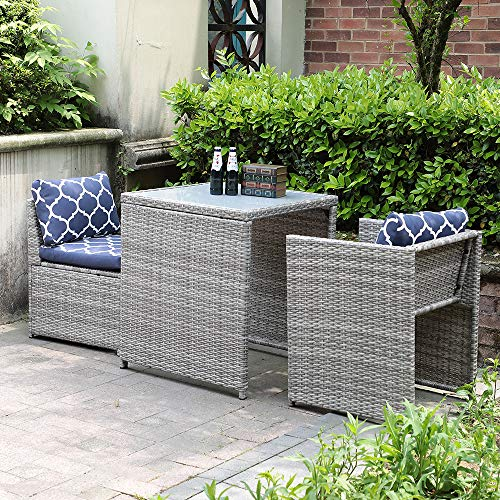 OC Orange-Casual 3-Piece Outdoor Conversation Set Wicker Patio Furniture Bistro Set with Glass Top Table, Space Saving Design