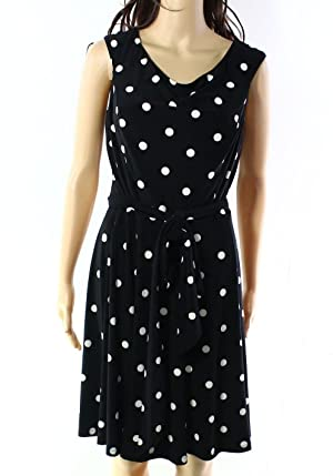 Lauren Ralph Lauren Polka Dot Women's Sheath Dress Black 16