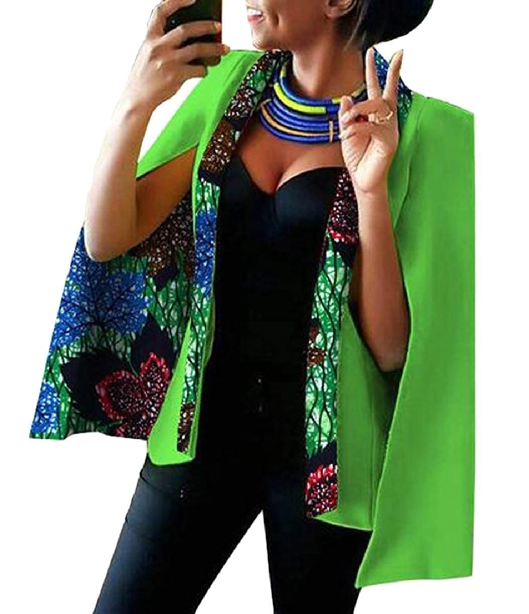 16 KLJR Women Cape Dashiki Split Open Front Plus Size African Printed Blazer