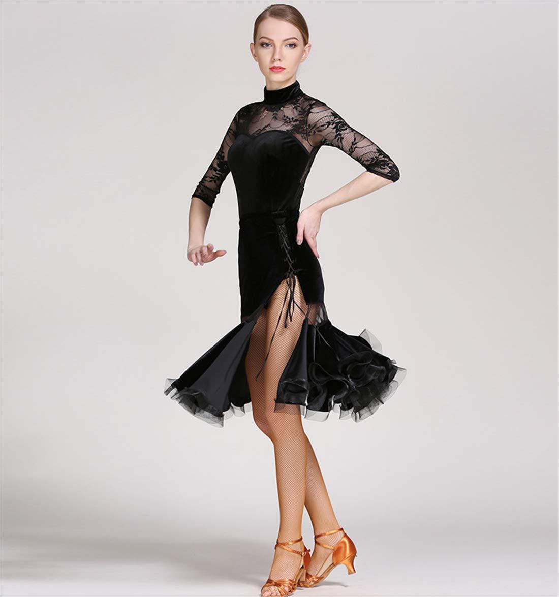 1d1656d6a Woman Latin Dance Dress Dancing Unifom Lace Long Sleeve Split Skirt  National Dance Dress Waltz Ballroom Dance Tango Practice Competition  Costumes: ...