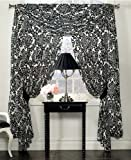 "Waterford Linens Lisette Pole Top Drape Curtain 55 x 84"" Black / Cream"