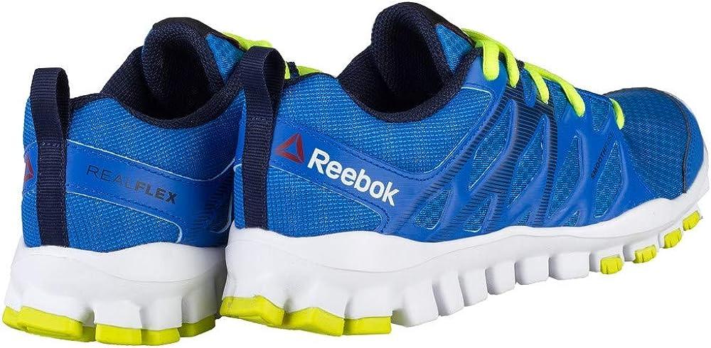 Reebok Realflex Train 4.0, Chaussures de Sport garçon Bleu Jaune Blanc Bleu Sport Bleu Marine Jaune Solaire Blanc