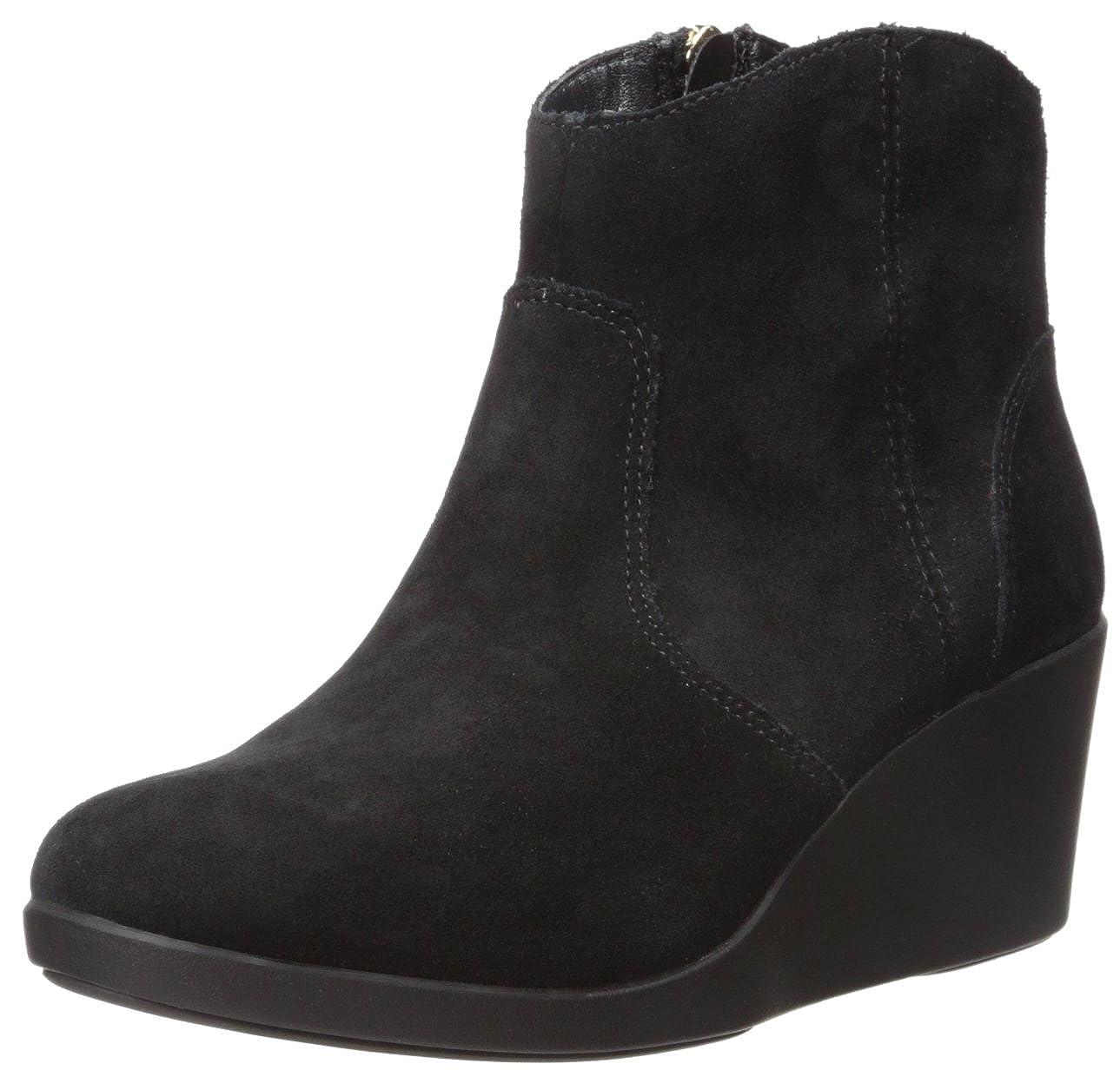 Crocs Leigh Suede Wedge Bootie - Black