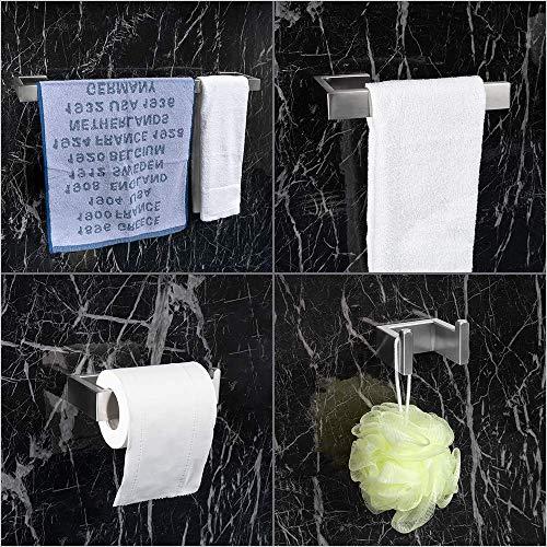LuckIn 4pcs Bath Hardware Set Stainless Steel Towel Bar Set, Modern Bathroom Hardware Accessory Set Brushed Nickel, Towel Bar Holder Set with Double Robe Coat Hook, TRS001C by LuckIn (Image #6)