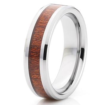 6 mm Titanium Grooved & Koa Wood Inlay Polished Edge Unisex Wedding Band Ring by Cohro CJTI298WD