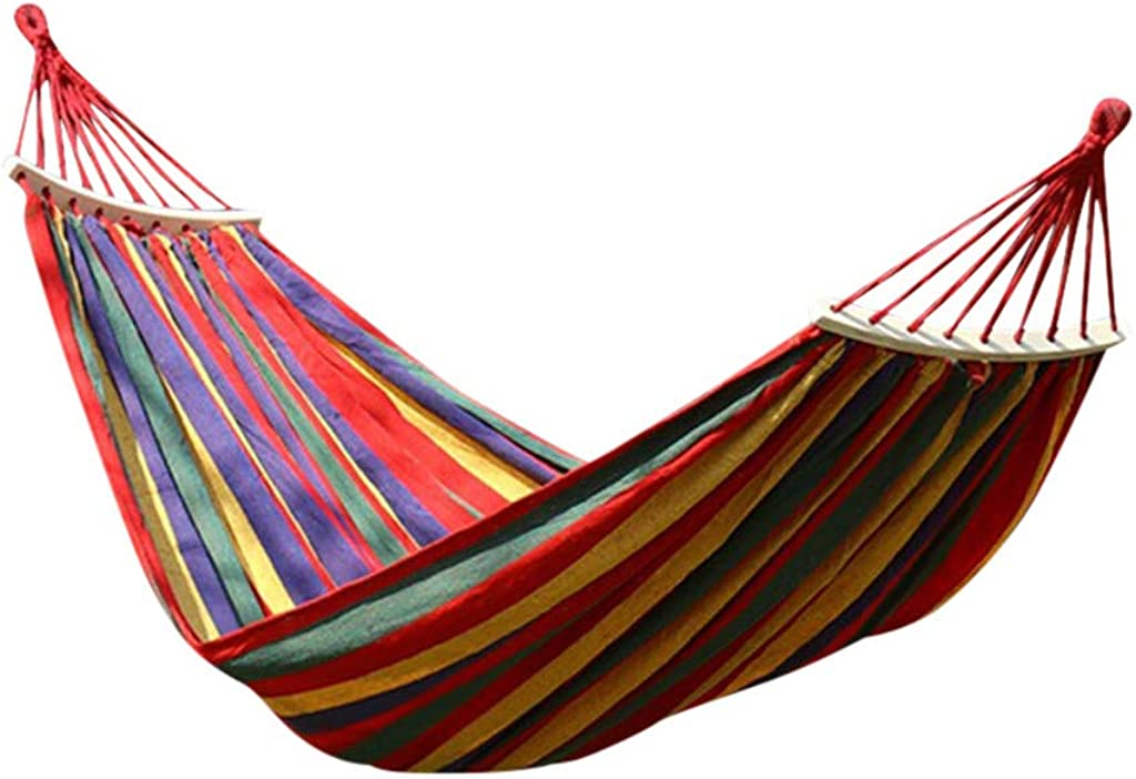 Fiosoji Hamaca de Lona a Rayas balanceo Cama portátil al Aire Libre con Mochila de Viaje jardín Patio Playa Yard Ocio hamacas Ultraligero con Bolsa 200 x 80/100/150 cm
