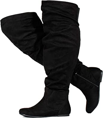 Ladies /'Spot On/' Slouch Leg Knee High Boots