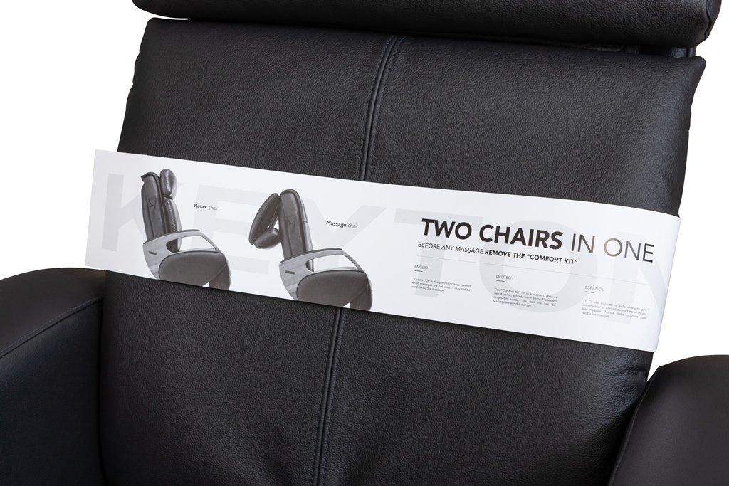 Sillón de masaje, silla de masaje piel negro Keyton Omega ...
