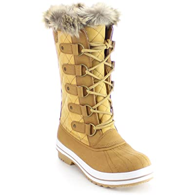 Nature Breeze FROST-03 Women's Lace Up Quilted Mid Calf Winter Snow Boots Tan | Shoes
