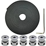 DerBlue 10 Meters GT2 2mm pitch 6mm wide Rubber Timing Belt+ 5 Pcs 20 Teeth Aluminum Timing Pulley Wheel for 3D printer CNC(Prusa i3, Kossel, Rostock, TAZ etc)